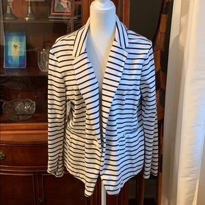 White jacket with black stripes
